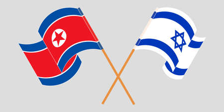 Crossed and waving flags of North Korea and Israel