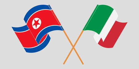 Crossed and waving flags of North Korea and Italy