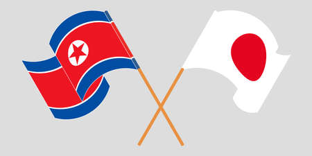 Crossed and waving flags of North Korea and Japan  イラスト・ベクター素材