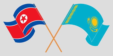 Crossed and waving flags of North Korea and Kazakhstan