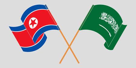 Crossed and waving flags of North Korea and the Kingdom of Saudi Arabia  イラスト・ベクター素材