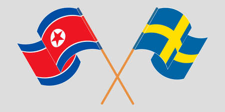 Crossed and waving flags of North Korea and Sweden  イラスト・ベクター素材