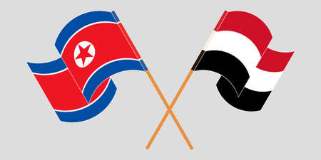 Crossed and waving flags of North Korea and Yemen  イラスト・ベクター素材