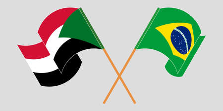 Crossed and waving flags of Sudan and Brazil  イラスト・ベクター素材
