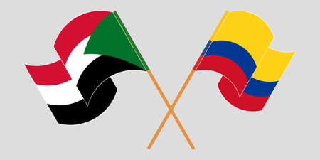 Crossed and waving flags of Sudan and Colombia  イラスト・ベクター素材