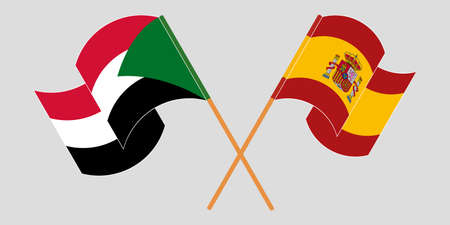 Crossed and waving flags of Sudan and Spain