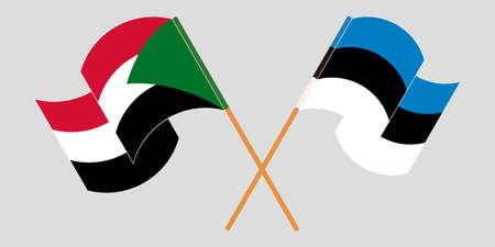 Crossed and waving flags of Sudan and Estonia