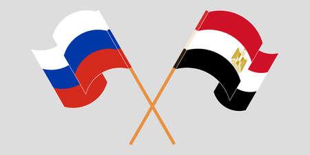 Crossed and waving flags of Egypt and Russia Vektoros illusztráció