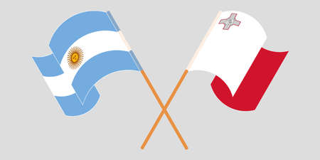 Crossed and waving flags of Malta and Argentina