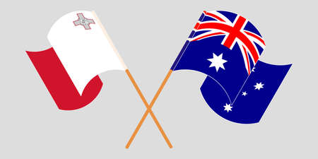 Crossed and waving flags of Malta and Australia