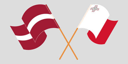 Crossed and waving flags of Malta and Latvia