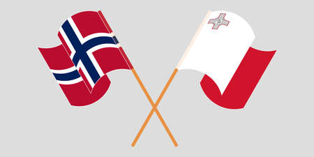 Crossed and waving flags of Malta and Norway 向量圖像