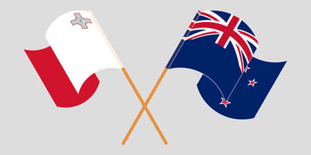 Crossed and waving flags of Malta and New Zealand 向量圖像