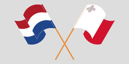Crossed and waving flags of Malta and the Netherlands