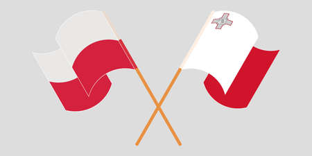 Crossed and waving flags of Malta and Poland