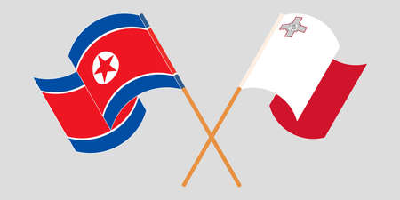 Crossed and waving flags of Malta and North Korea 向量圖像