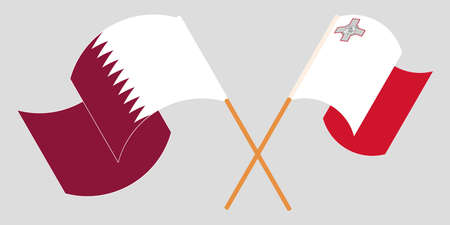 Crossed and waving flags of Malta and Qatar