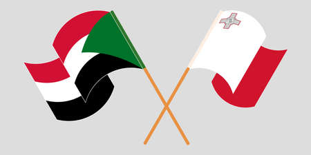 Crossed and waving flags of Malta and Sudan 向量圖像