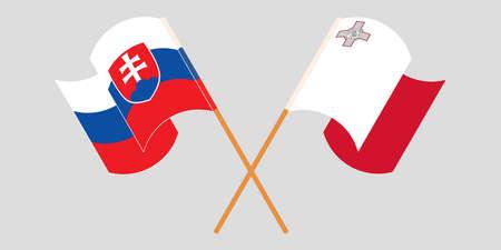 Crossed and waving flags of Malta and Slovakia 向量圖像
