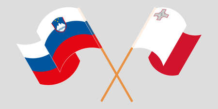 Crossed and waving flags of Malta and Slovenia 向量圖像