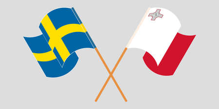 Crossed and waving flags of Malta and Sweden 向量圖像