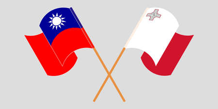Crossed and waving flags of Malta and Taiwan 向量圖像