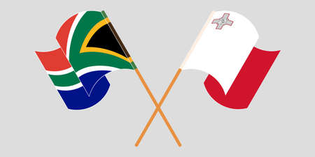 Crossed and waving flags of Malta and Republic of South Africa