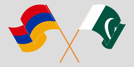 Crossed and waving flags of Pakistan and Armenia 向量圖像
