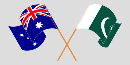 Crossed and waving flags of Pakistan and Australia 向量圖像