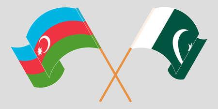 Crossed and waving flags of Pakistan and Azerbaijan