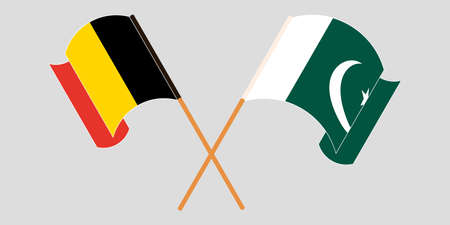 Crossed and waving flags of Pakistan and Belgium 向量圖像
