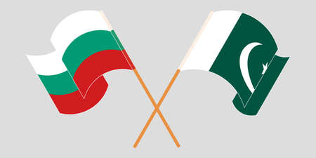 Crossed and waving flags of Pakistan and Bulgaria 向量圖像