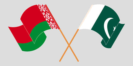 Crossed and waving flags of Pakistan and Belarus