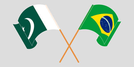 Crossed and waving flags of Pakistan and Brazil