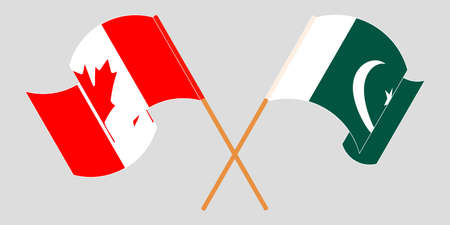 Crossed and waving flags of Pakistan and Canada