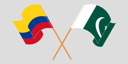 Crossed and waving flags of Pakistan and Colombia 向量圖像