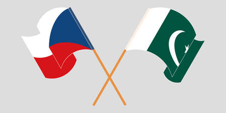 Crossed and waving flags of Pakistan and Czech Republic 向量圖像