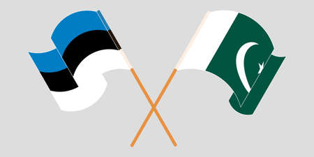 Crossed and waving flags of Pakistan and Estonia 向量圖像