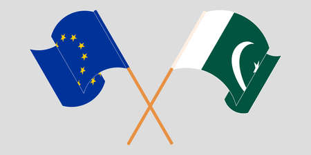 Crossed and waving flags of Pakistan and the EU