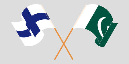 Crossed and waving flags of Pakistan and Finland