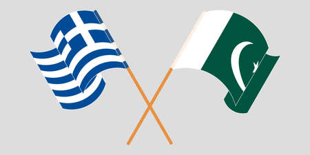 Crossed and waving flags of Pakistan and Greece