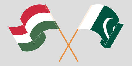 Crossed and waving flags of Pakistan and Hungary