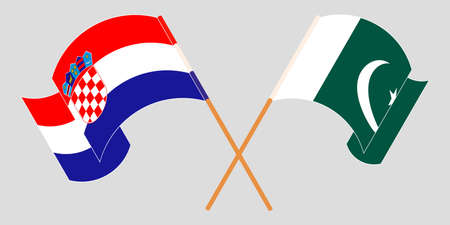 Crossed and waving flags of Pakistan and Croatia