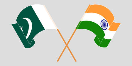 Crossed and waving flags of Pakistan and India 向量圖像