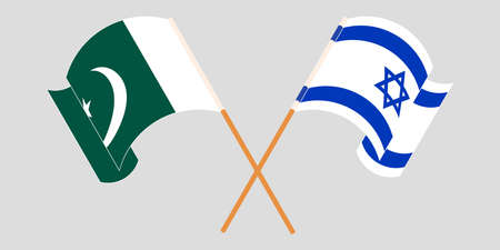 Crossed and waving flags of Pakistan and Israel 向量圖像