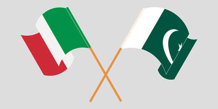 Crossed and waving flags of Pakistan and Italy