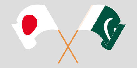Crossed and waving flags of Pakistan and Japan 向量圖像