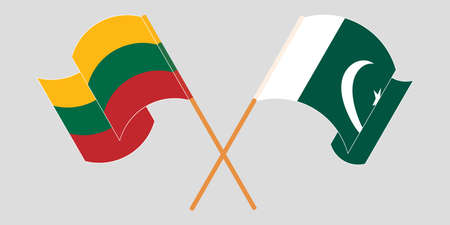 Crossed and waving flags of Pakistan and Lithuania 向量圖像