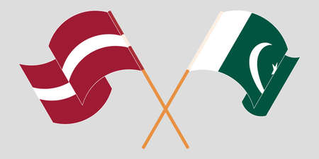 Crossed and waving flags of Pakistan and Latvia