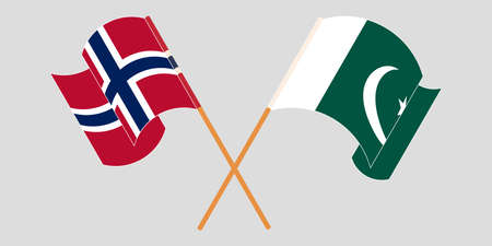 Crossed and waving flags of Pakistan and Norway